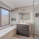 Conder – Bathroom 2 – Semi-frameless showerscreen and custom made vanity unit_940